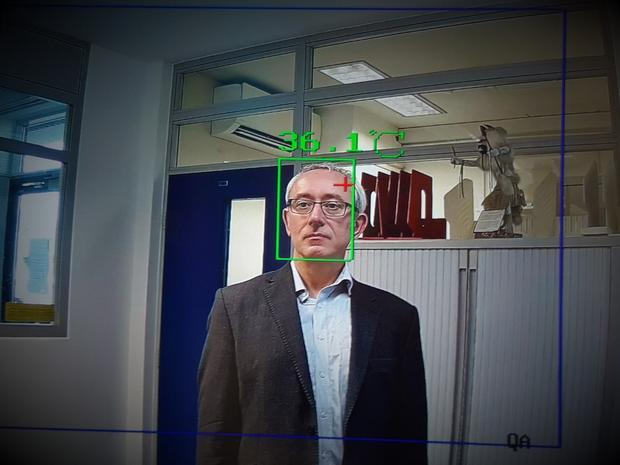 Digital Journalist Tim Sandle is scanned by biometric facial recognition.