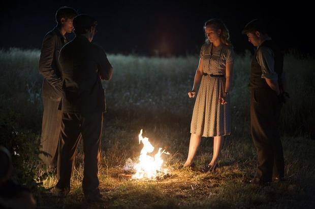 Alfred (Jack Laskey)  Harry (Connor Price)  Aurora (Evelyne Brochu)  and Neil (Warren Brown) eulogiz...