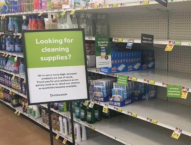 Empty shelves for soaps and disinfectants at the Stop and Shop at 3333 NJ-27  Franklin Park  New Jer...