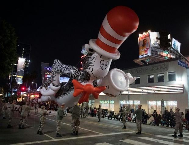 A Dr. Seuss balloon character floats down Sunset Blvd during the 88th annual Hollywood Christmas Par...