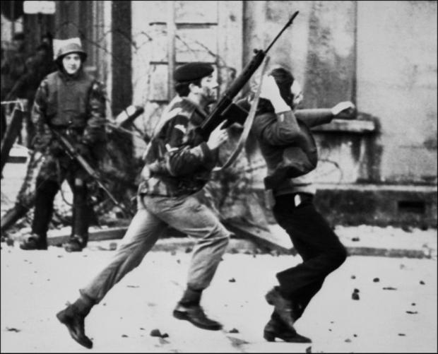 A British soldier drags a Catholic protester during the Bloody Sunday killings on January 30  1972  ...