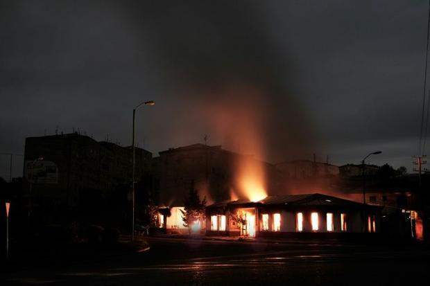 A building burns in Stepanakert  a week after after fighting returned in in the decades-old dispute ...