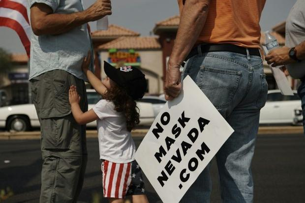 A protest against masks in Las Vegas on 22 August  2020