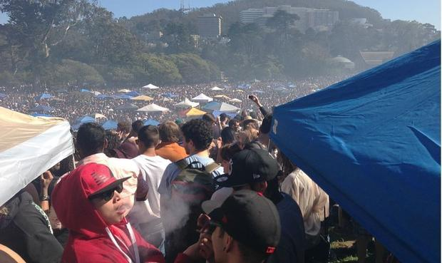 Thousands illegally consume cannabis in Golden Gate Park in California to celebrate 420 and end proh...