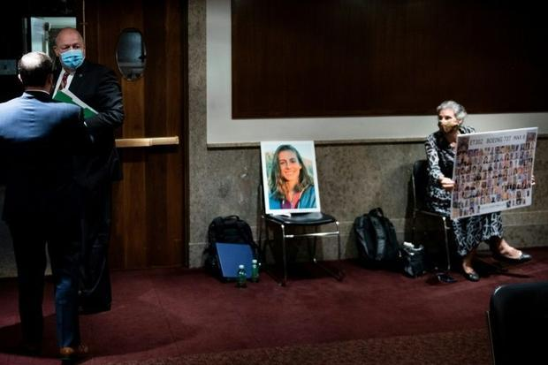 Nadia Milleron  mother of a victim of the Ethiopian Airlines crash  watches as FAA administrator Ste...