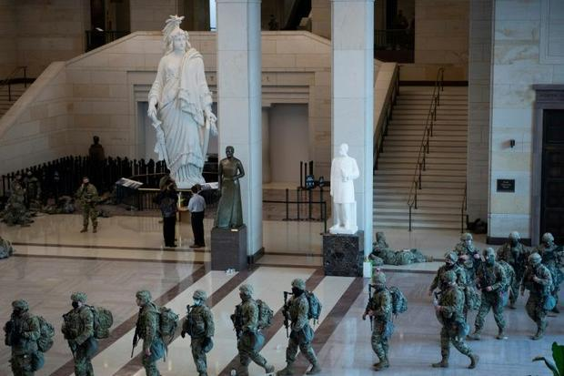 National Guard soldiers deploy from the Capitol Hill visitors center on their mission to provide sec...
