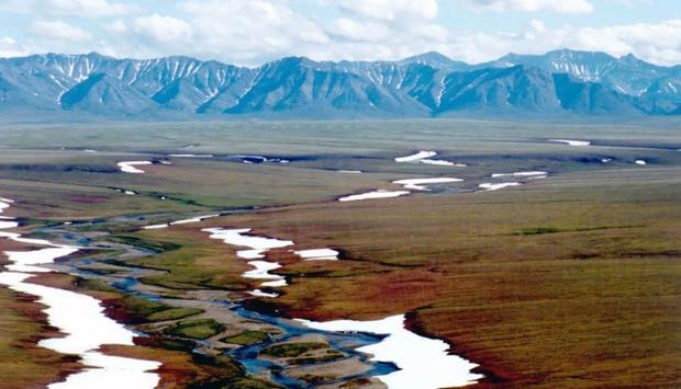 Area 1002 of the Arctic National Wildlife Refuge coastal plain  looking south toward the Brooks Rang...