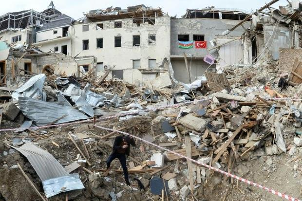 Destroyed buildings hit by shelling in a residential area of the city of Ganja  Azerbaijan