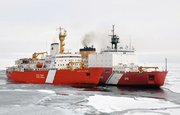 Icebreakers CCGS Louis S. St-Laurent and USCGC Healy on a joint exercise in the Arctic.