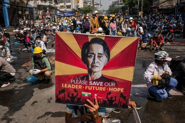 Protesters take part in a demonstration against the military coup in Yangon