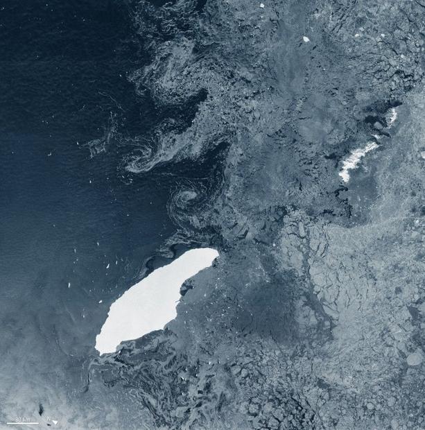 A68a iceberg  drifting in the South Atlantic  is 160 kilometres (93 miles) long and 48 kilometres (3...