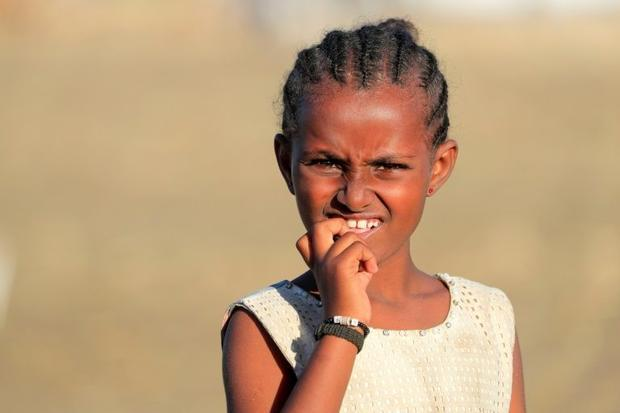 A young refugee from the Tigray conflict  pictured at the Tenedba camp in Mafaza  eastern Sudan