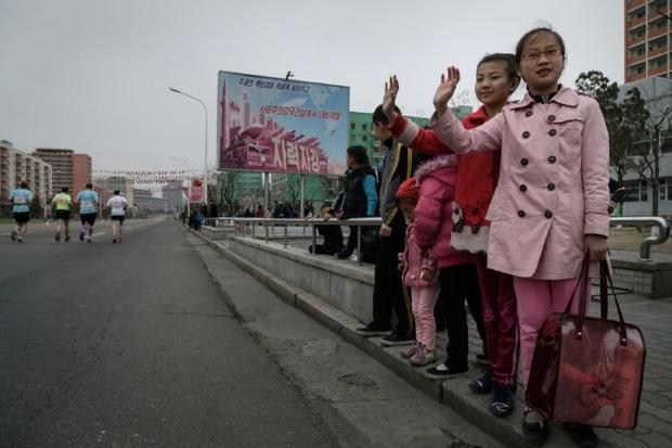 The event offers visitors the chance to run or jog through the streets of Pyongyang