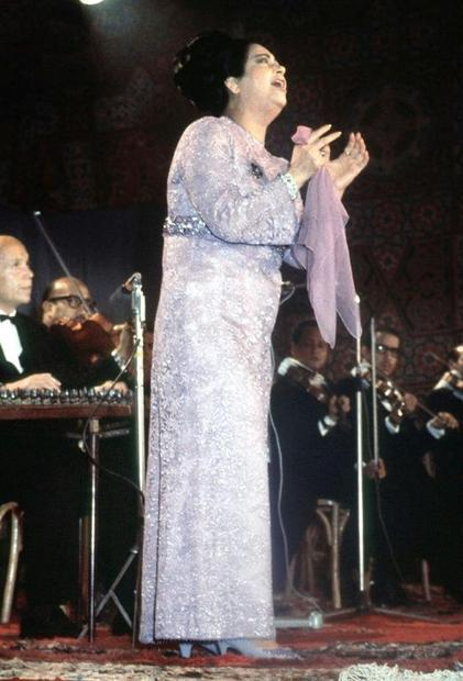 Legendary Egyptian singer Umm Kulthum during a concert in Cairo  in a picture dated mid-1960s