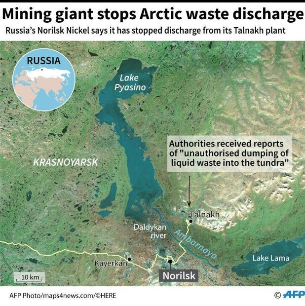 Map locating Russian mining giant Norilsk Nickel's Talnakh enrichment plant near the Arctic cit...