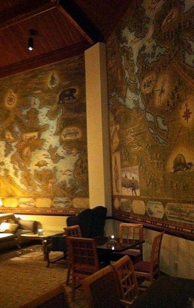 Inside Deerhurst Resort in Ontario  near the Lobby Bar  a view of maps of the region adorning the wa...