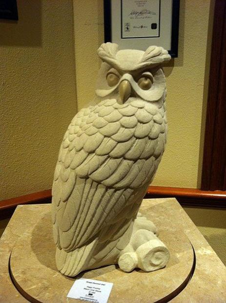 Sculpture of a great horned owl  by Siggy Puchta  found in Ontario s Deerhurst Resort