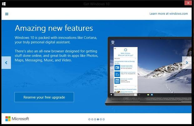 The  Get Windows 10  dialog is appearing in the system tray of Windows computers  prompting users to...