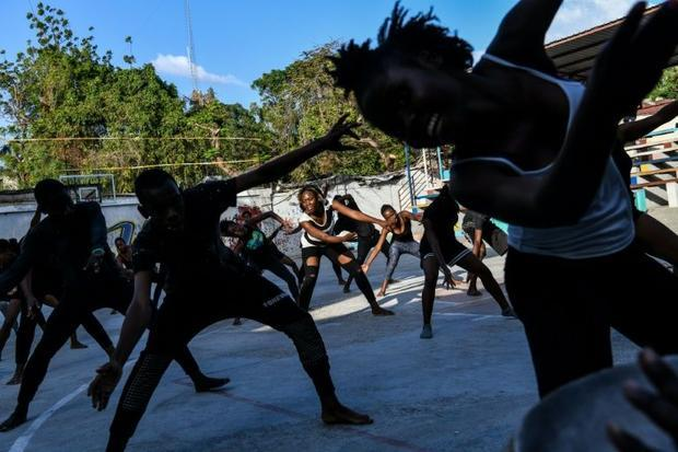 Haitian dancers rehearse for the upcoming Carnival parade in Port-au-Prince