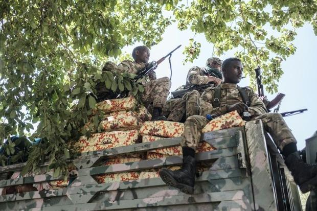 Amhara special forces troops  sitting on top of a truck in Alamata