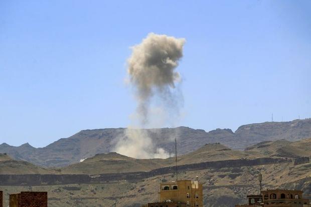An air strike by the Saudi-led coalition in the Yemeni capital Sanaa in February. Yemen's healt...
