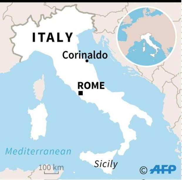 Map locating Corinaldo