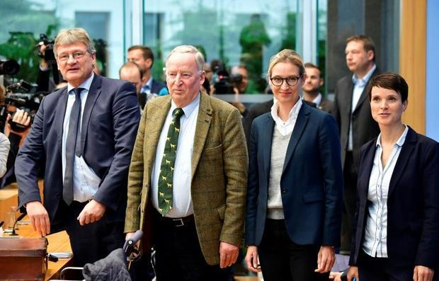 Alexander Gauland (2nd L) of the far-right Alternative fur Deutschland party has said the Nazi era w...