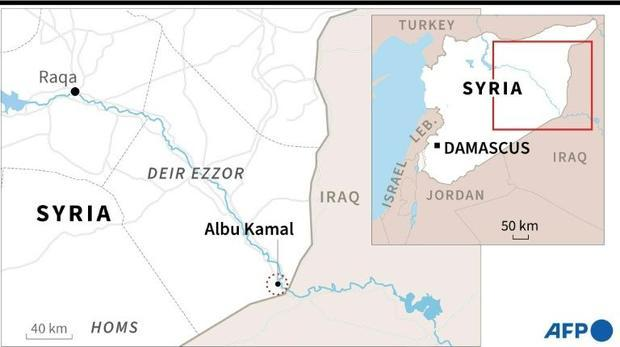 Map showing Albu Kamal in eastern Syria  near where the US military on Thursday struck facilities us...