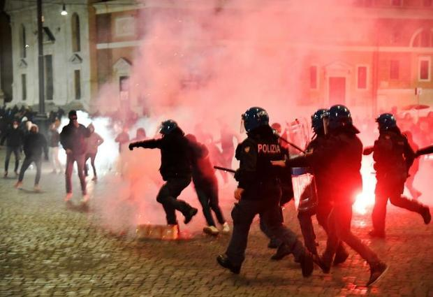 Italian police clashed with far-right activists during a protest against anti-virus restrictions