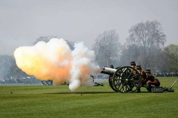 Members of The King's Troop Royal Horse Artillery take part in a 41-gun salute in Hyde Park  ce...