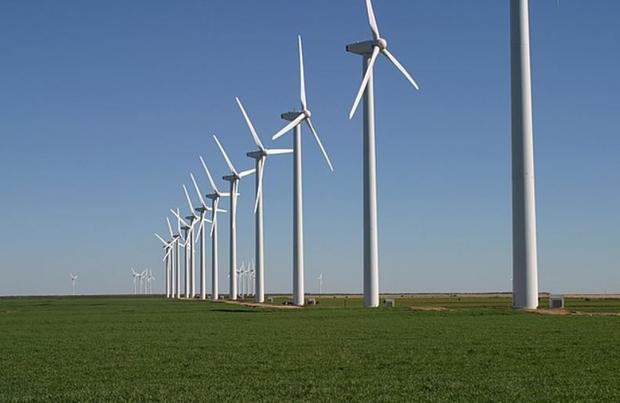 The Brazos Wind Farm  also known as the Green Mountain Energy Wind Farm  near Fluvanna  Texas. Note ...