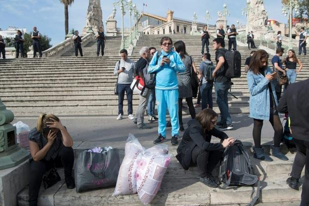People wait outside Saint-Charles train station in Marseille on October 1  2017