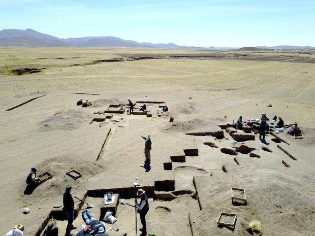 Archeologists conduct excavations at Wilamaya Patjxa in Peru