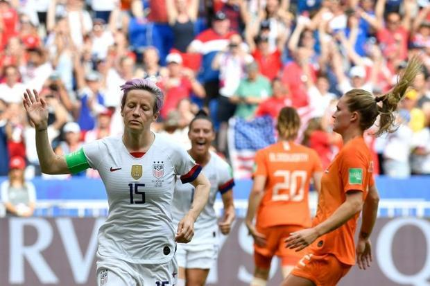 Megan Rapinoe's penalty set the USA on their way to a 2-0 victory over the Netherlands in the w...