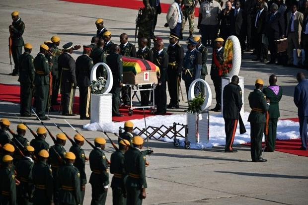Mugabe's body arrived from Singapore where he died on Friday aged 95  after nearly four decades...