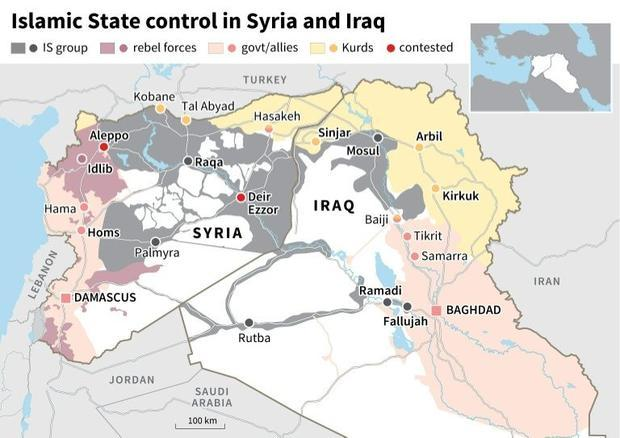 Islamic State control in Syria and Iraq