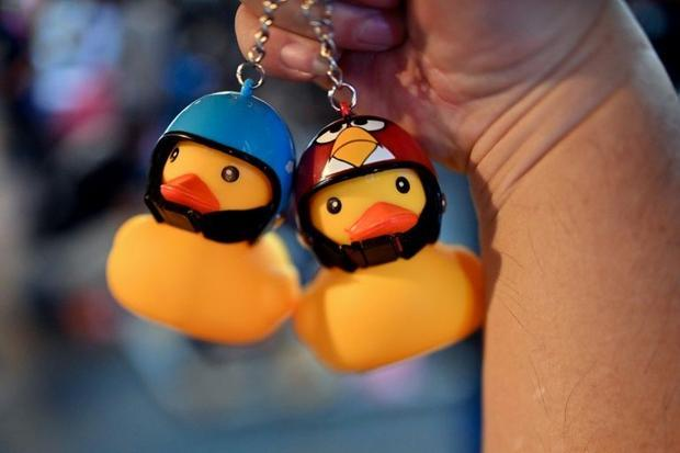 Yellow rubber ducks have become a symbol for the Thai pro-democracy protests after demonstrators use...