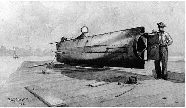 Confederate Submarine H.L. Hunley. Sepia wash drawing by R.G. Skerrett  1902  after a painting then ...