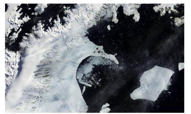 Larsen B ice shelf on January 31  2002. By April 13  2002  the ice shelf had collapsed.
