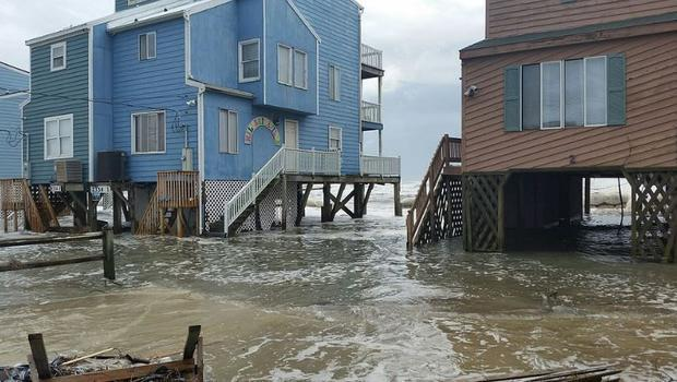 Coastal flooding from a non-tropical low at the Outer Banks of North Carolina on October 5  2015.