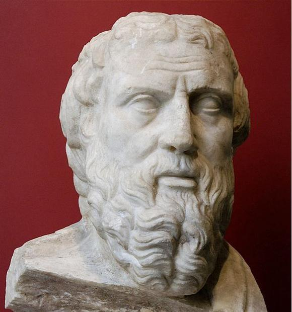 Portrait of Herodotus  identified after other known inscribed portraits of the historian. Greek marb...