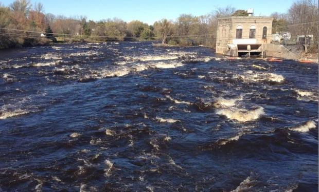 The St. Regis River is flowing unobstructed today.