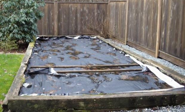 Black tarpaulin in Maple Ridge garden  ∼3 by 6 m2 with many depressions up to 4 or 5cm deep  fi...