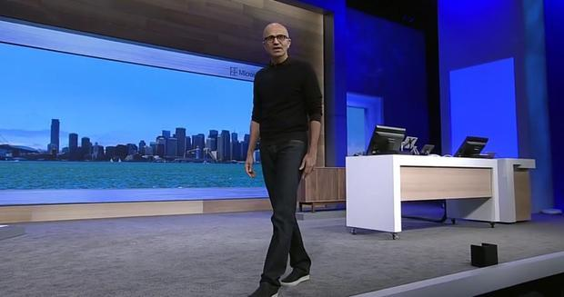 Satya Nadella on stage at Microsoft BUILD 2015