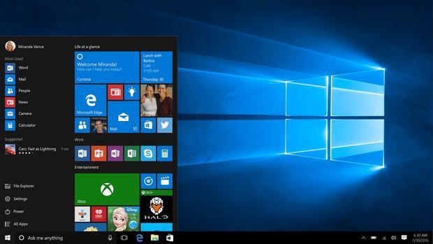 The Start menu on Windows 10