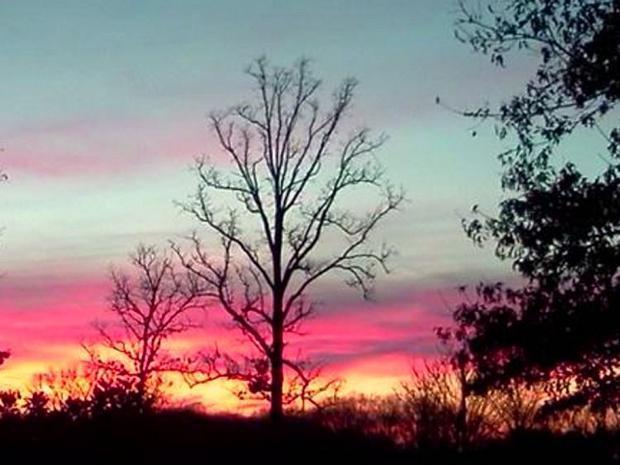 Spectacular winter sunset near Radnor Lake in Nashville  TN