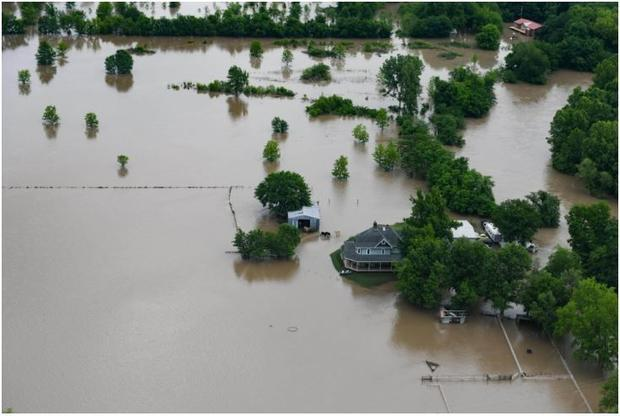 Flood waters cover several areas of northeast Oklahoma  May 22  2019. Several days of severe weather...